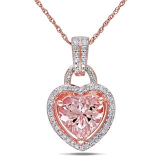 Miadora 10k Pink Gold Morganite and 1/6ct TDW Diamond Heart Pendant (G-H, I2-I3)