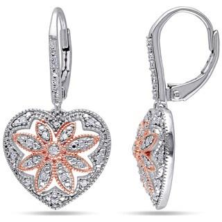Miadora Two-tone Silver 1/4ct TDW Diamond Heart Earrings (H-I, I2-I3)