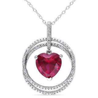 Miadora Sterling Silver Created Ruby and 1/10ct TDW Diamond Necklace (H-I, I2-I3)