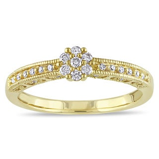 Miadora 10k Yellow Gold 1/5ct TDW Diamond Promise Ring