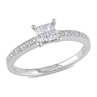 Miadora 10k White Gold 1/3ct TDW Diamond Engagement Ring