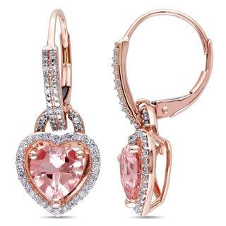 Miadora 10k Rose Gold 2ct TGW Morganite and 1/4ct TDW Diamond (H-I, I2-I3)