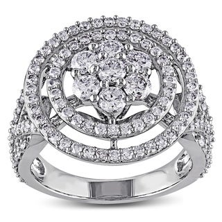 Miadora Signature Collection 14k White Gold 2ct TDW Diamond Halo Engagement Ring (G-H, I1-I2)
