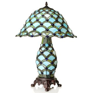 Tiffany-style Scalloped Cabochon Double Lit Table Lamp