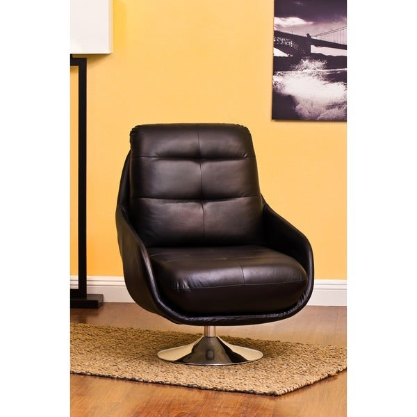 Shop Abe Black Bonded Leather Contemporary Accent Chair