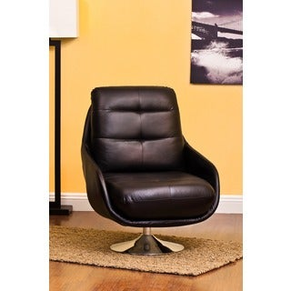 Abe Black Bonded Leather Contemporary Accent Chair