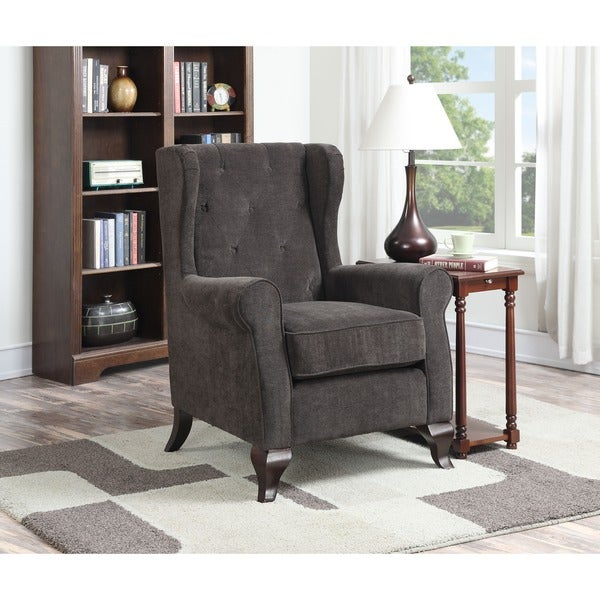 deluxe carolyn brown button tufted accent chair free