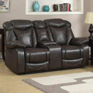 Otto Brown Leather Dual Reclining Loveseat with Storage Console