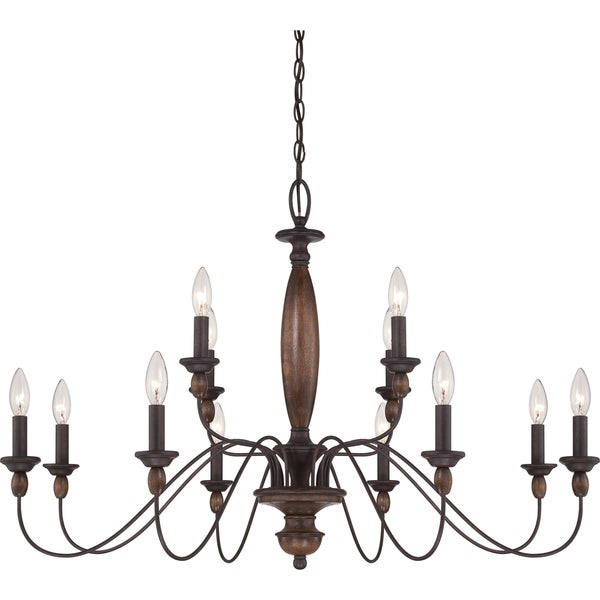 Classic Vintage French 55 Square Two Tier Brass Glass: Quoizel Holbrook 12-light Tuscan Brown 2-tier Chandelier