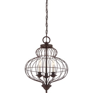 Laila 3-light Rustic Antique Bronze Cage Chandelier