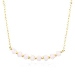 Goldplated Bead And Rose Crystal Necklace