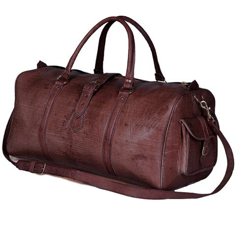 Handmade Large Brown Moroccan Leather Duffel Bag (Morocco)