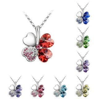 Princess Ice Platinum-pated Lucky 4-heart Leaf Clover Crystal Pendant Necklace|https://ak1.ostkcdn.com/images/products/9407850/P16595814.jpg?impolicy=medium