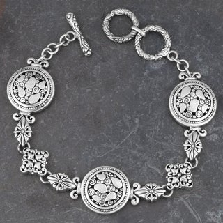 Sterling Silver 'Secret Garden' Toggle Bracelet (Indonesia)