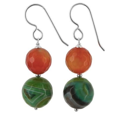 Orange Agate, Green Onyx Silver Earrings Earrings