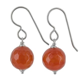 Ashanti Sterling Silver Orange Agate Handmade Earrings (Sri Lanka)