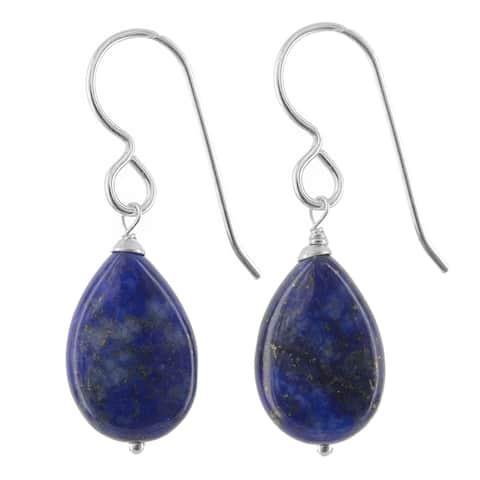 Polished Lapis Lazuli Navy Blue Silver Handmade Earrings