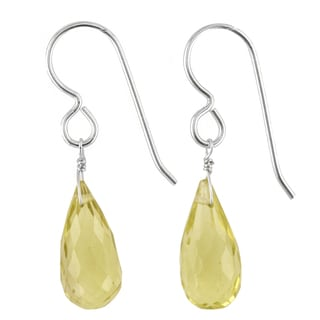 Ashanti Sterling Silver Lemon Quartz Gemstone Handmade Earrings (Sri Lanka)