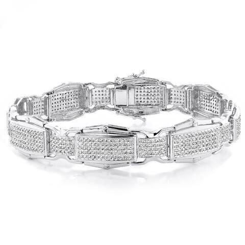 Luxurman 10k White Gold Men's 3 1/4ct TDW Diamond Link Bracelet (I-J, I1-I2)