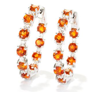 Sterling Silver Madeira Citrine and White Cubic Zirconia Inside Out Hoop Earrings