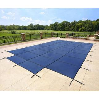 Rectangular Blue In-ground Pool Safety Cover with Center Step