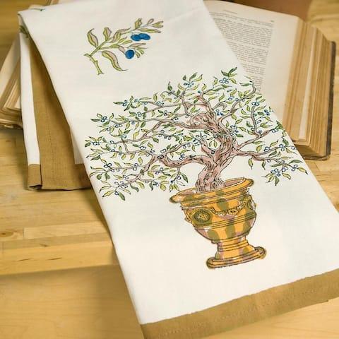 Couleur Nature Gold/ Blue Olive Tree Tea Towels (Set of 3)