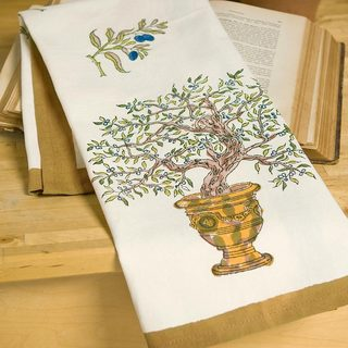 Couleur Nature Gold/ Blue Olive Tree Tea Towels (Set of 3)