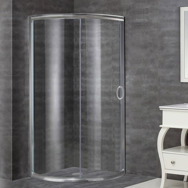 Aston 36-in x 36-in Semi-Frameless Round Bypass Shower Enclosure in Stainless Steel