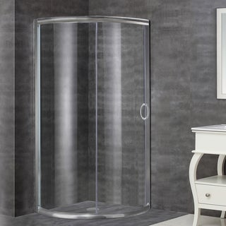 Aston 40-in x 40-in Semi-Frameless Round Bypass Shower Enclosure in Stainless Steel