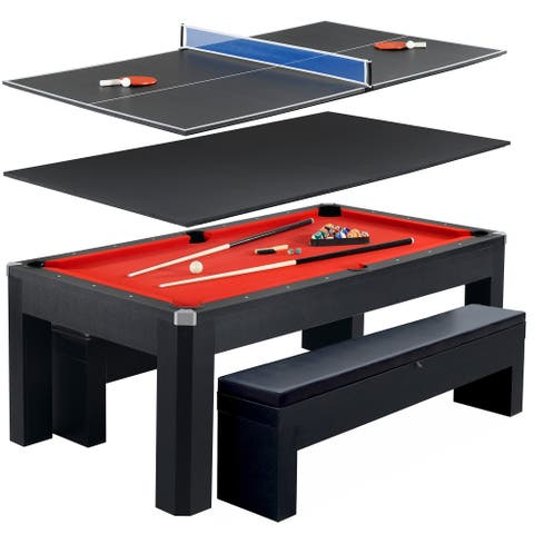 Park Avenue 7-ft Pool Table Combo Set w/ Benches