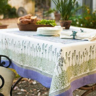Couleur Nature Handmade Lavender Rectangle Cotton Tablecloth