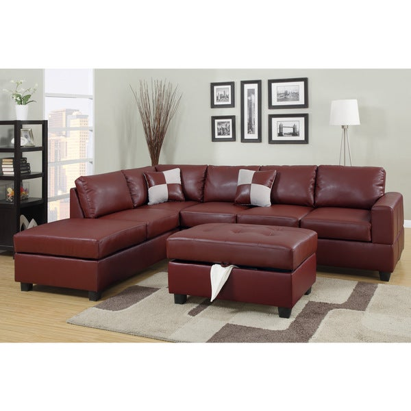 Lombardy Bonded Leather Sectional Sofa With Ottoman And