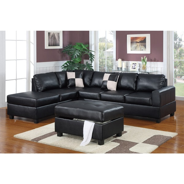 Lombardy Bonded Leather Sectional Sofa with Ottoman and Pillows - Free Shipping Today - Overstock.com - 16595962  sc 1 st  Overstock.com : sectional sofa with chaise and ottoman - Sectionals, Sofas & Couches