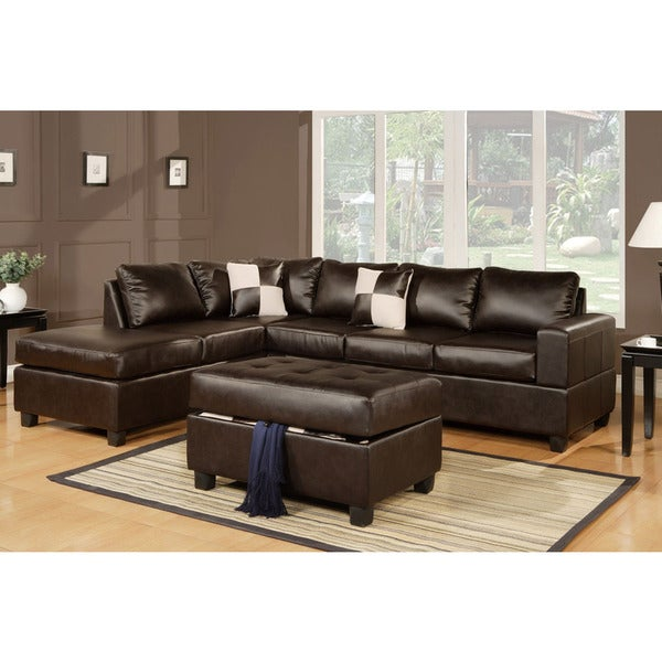 Pillows Leather Sofa: Shop Lombardy Bonded Leather Sectional Sofa With Ottoman