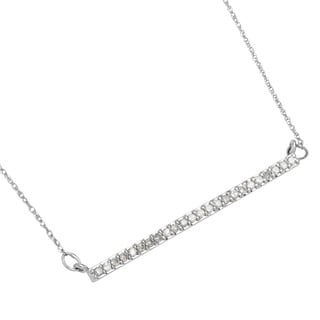 10k White Gold 1/4ct TDW Genuine White Diamond Bar Pendant (I-J, I2-I3)