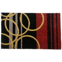 Stripes and Rings Geometric Coir Doormat
