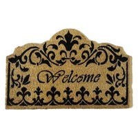 'Welcome' Fleur De Lis Coir Doormat