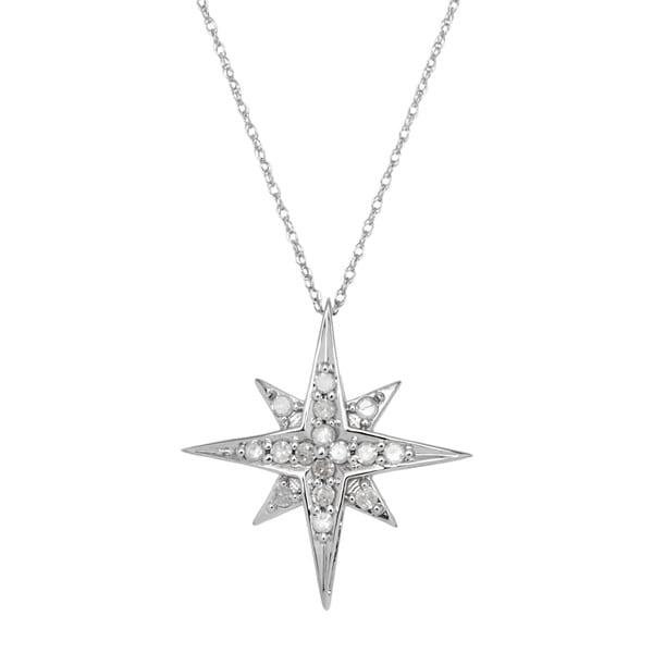 10k white gold 14ct tdw diamond starburst pendant necklace free 10k white gold 14ct tdw diamond starburst pendant necklace mozeypictures Images