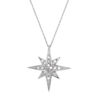 10k White Gold 1/4ct TDW Diamond Starburst Pendant Necklace