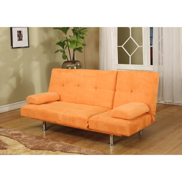 Orange microfiber contemporary klik klak sofa bed free for Sofa bed overstock