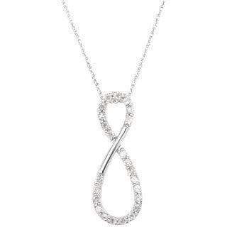 10k White Gold 1/4ct TDW Diamond Infinity Pendant Necklace