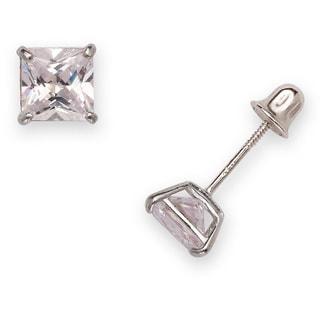 Link to 14k Gold 5mm Princess Cut Cubic Zirconia Screwback Stud Earrings Similar Items in Earrings