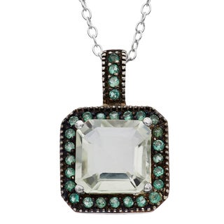 Gioelli Sterling Silver Black Rhodium Green Amethyst Quartz Pendant Necklace