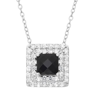 Gioelli Sterling Silver Black Onyx and Created White Sapphire Square Pendant Necklace