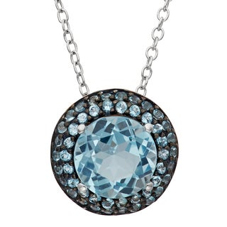 Gioelli Black Rhodium-plated Sterling Silver Round-cut Blue Topaz Pendant Necklace