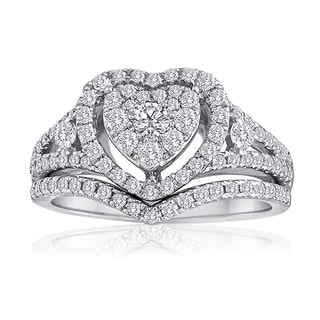 Platinaire Platinum and Sterling Silver 1ct TDW Diamond Heart Shape Bridal Set (H-I, I2)