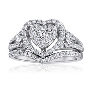 Platinaire Platinum and Sterling Silver 1ct TDW Diamond Heart Shape Bridal Set
