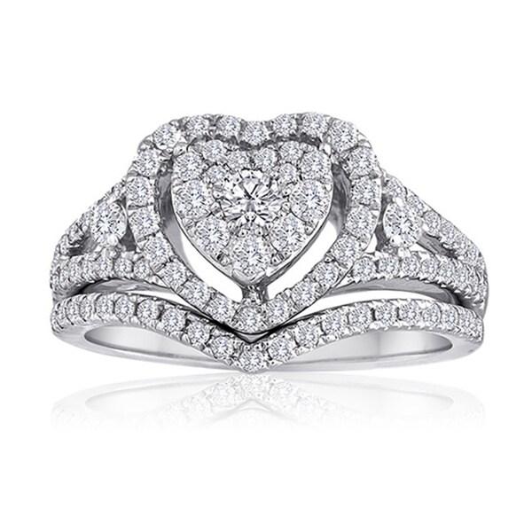Platinaire Platinum And Sterling Silver 1ct Tdw Diamond Heart Shape Bridal Set