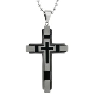 Stainless Steel Two-tone Cross Pendant with Satin Finish