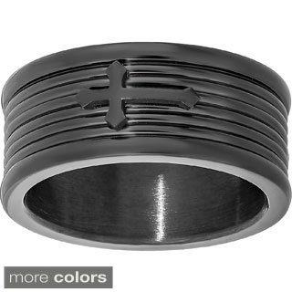 Stainless Steel Men's Cross Accent Ring